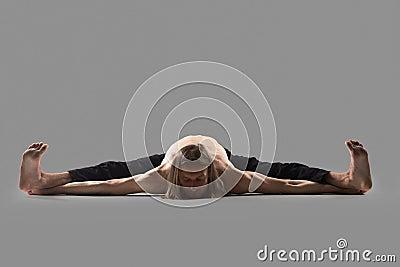 upavishtha konasana aka dragonfly yoga pose stock photo