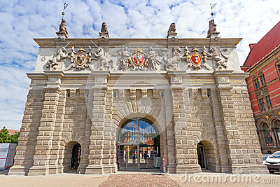 The Upland Gate in old town of Gdansk