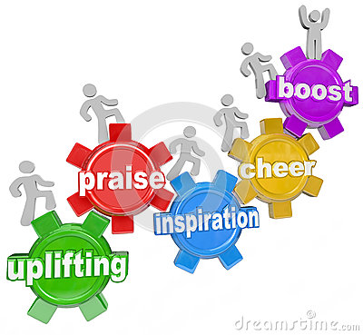 Uplifting Words Team Climbing Gears Praise Cheer Inspiration