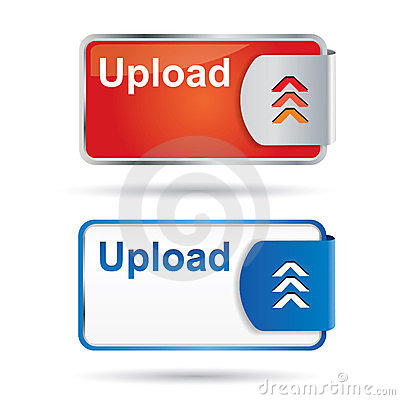 Upload button with reflection and icon