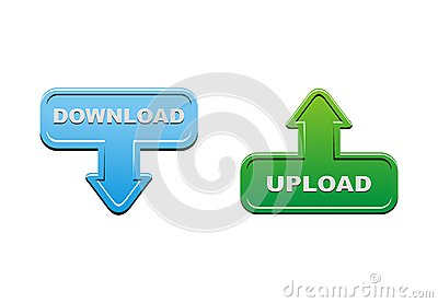 Upload and download buttons - green and blue