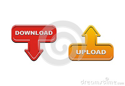 Upload and download buttons - orange and red
