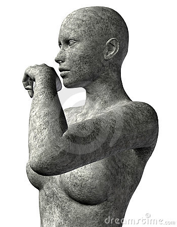 Upper body of a woman made of stone