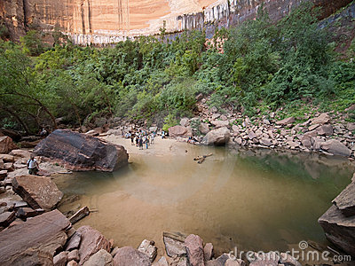 Upper Emerald Pool at Zion National Park Editorial Photography
