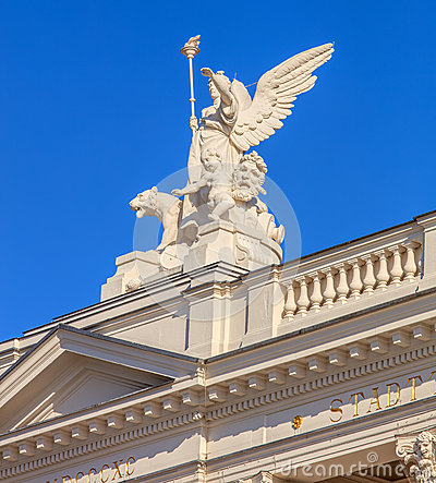 Free Upper Part Of The Zurich Opera House Building Royalty Free Stock Photo - 74777085