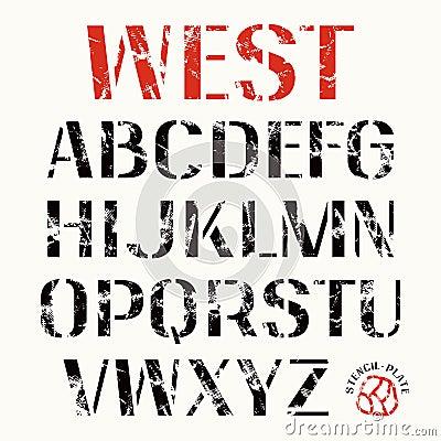 uppercase stencil plate sans serif font bold face color print white background 62335478