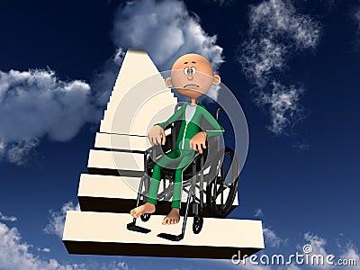 Uppriven rullstol för man