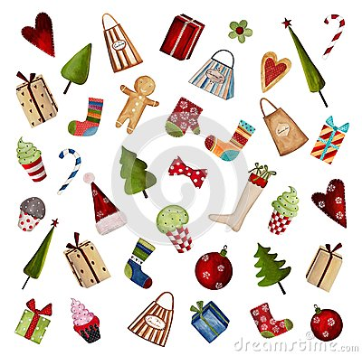 Uppsättning av dekorativa julbeståndsdelar