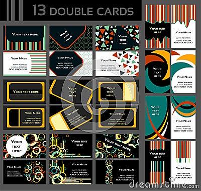 Uppsättning av 13 dubbla affärskort som är färgrik