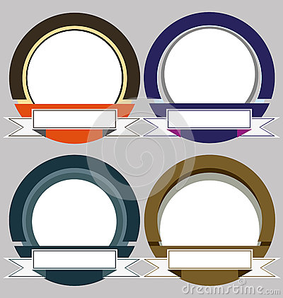 Uppsättning av färgrika moderna emblemramar