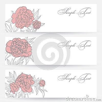 Uppsättning av horisontalbaner med blommor