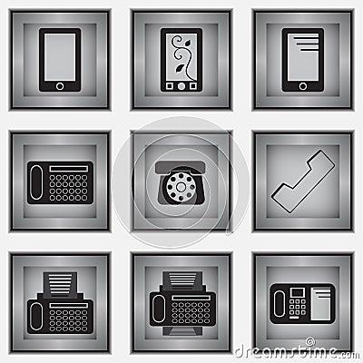 Uppsättning av 9 telefonsymboler