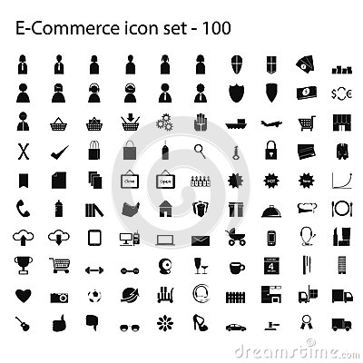 Uppsättning för 100 ecommercesymboler av vektorn