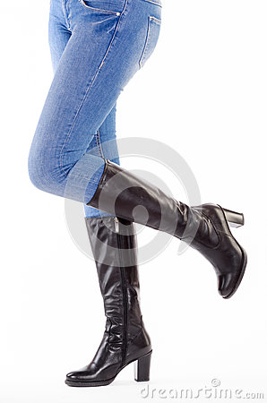 Upraised legs with jeans