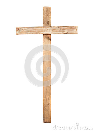 Upright wooden cross