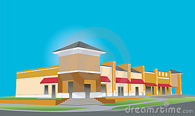 Upscale beige strip mall