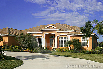 Upscale home with circular driveway