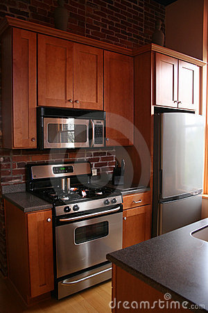 Upscale kitchen wood cabinets stainless