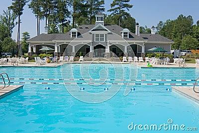 Upscale swimming pool pavilion