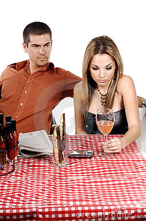 Free Upset Bistro Couple Royalty Free Stock Image - 322846