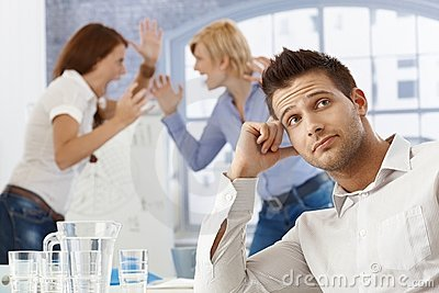 Upset businessman at meeting