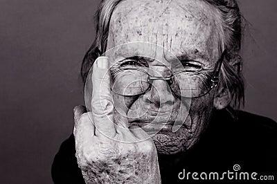 Upset Elderly Woman