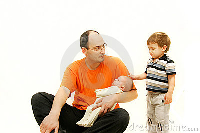 Upset father with two children