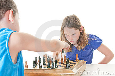 Upset girl during chess game