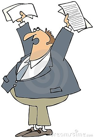 Upset Man Holding Papers Up