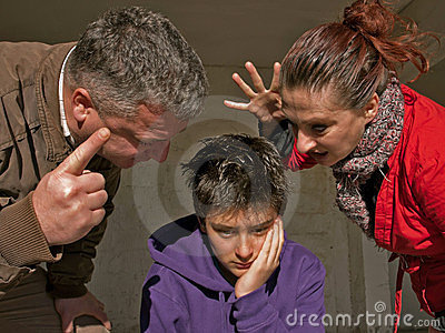 Upset teenager and family