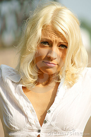 Upset woman portrait