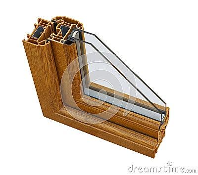 UPVC wood effect Double glazing cross section
