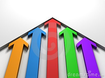 Upward rising colorful arrows moving white wall
