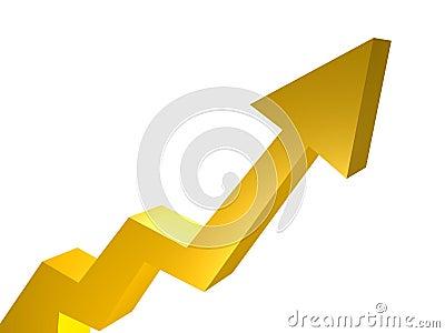 Upward trend arrow chart