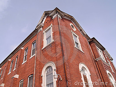 Upward view of a red brick building