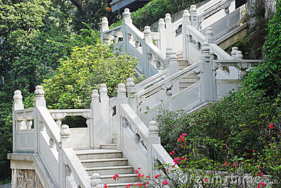 Upward white marble railings