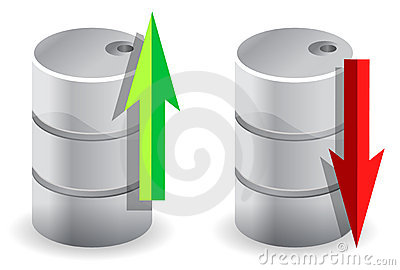 Upwards and downwards Oil prices illustration