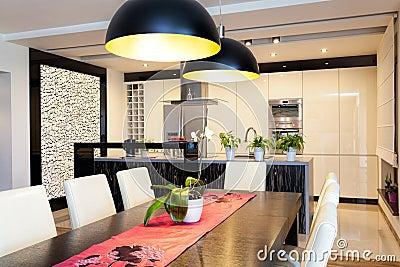 Urban apartment - Kitchen with stone wall