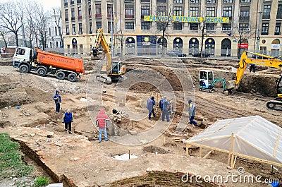 Urban Archeology - Bucharest Editorial Stock Photo