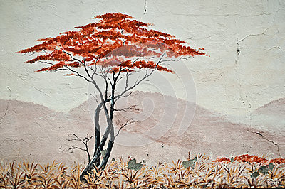 Urban Art - isolated tree in the Urban Art - isolated tree in the Savannah Editorial Stock Image
