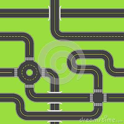 Urban Asphalt Roads. Seamless pattern. Vector illustration. Vector Illustration
