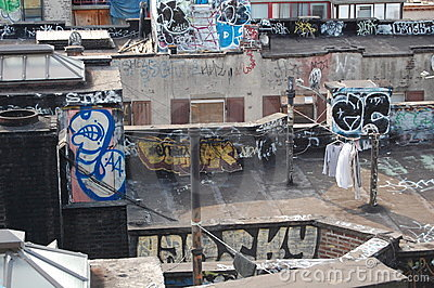 Urban Blight with Laundry Editorial Stock Photo