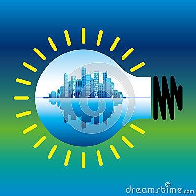 Free Urban City In A Bulb - Idea Stock Photo - 42615280