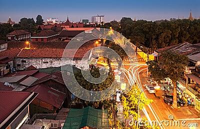 Urban City Skyline, Phnom Penh, Cambodia, Asia.