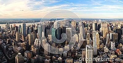 Urban city sunset panorama aerial view