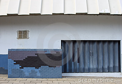 Urban decay with wall design and rustic door