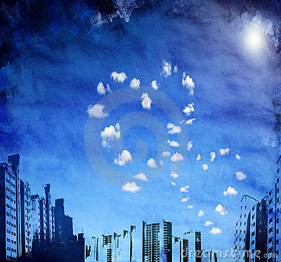 Urban grunge background with heart shaped clouds