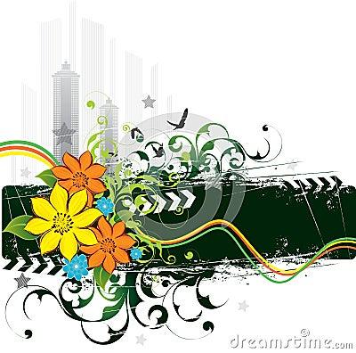 Urban grunge flowers and birds