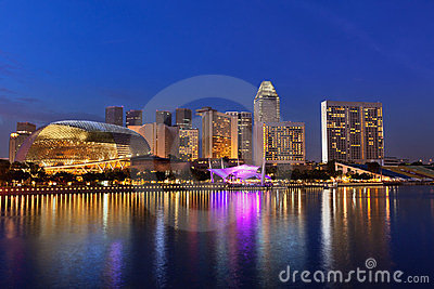 Urban landscape of Singapore at night