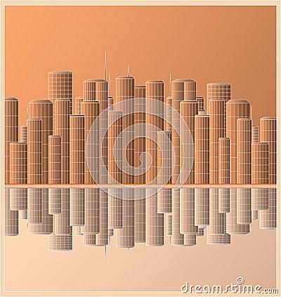 Urban landscape skyscraper with reflection